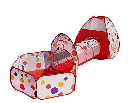 Marbeine 3 en1 Tente de Jeu pour Enfant Maison, Tente à Balles avec Tunnel Piscine A Balles Jouet Enfants Cadeau Facile Pliant (Boules Non incluses) (Rouge)