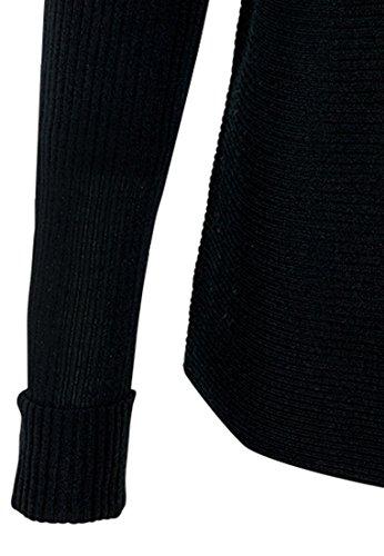 HALLHUBER Pull carré à côtes horizontales Noir