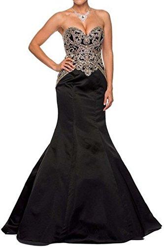 Bridal_Mall Women's Sweetheart Beaded Long Satin Mermaid Evening Gowns