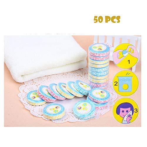 Toalla comprimida portátil de 50 piezas Mini tejido de moneda comprimida para viajes de deportes, salón de belleza o toallitas para el hogar