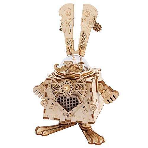 ROKR Laser-Schnitt-hölzernes Puzzlespiel-DIY Mechanismus-Spieluhr-hölzernes Modell Gebäude-Geburtstags Kinder und Erwachsene (Bunny)