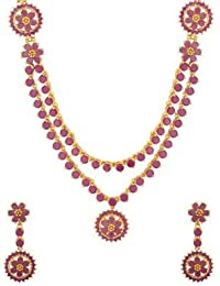 Voylla Stunning Gold Plated Floral Necklace Set For Women