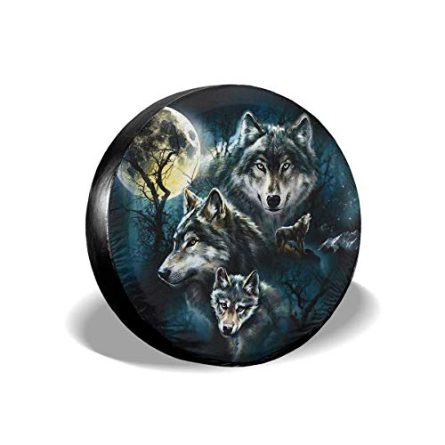 Vbnbvn Reserveradabdeckung, Wolf Family Potable Polyester Universal Spare Wheel Tire Cover Wheel Covers for Jeep Trailer RV SUV Truck Camper Travel Trailer Accessories(14,15,16,17 Inch)