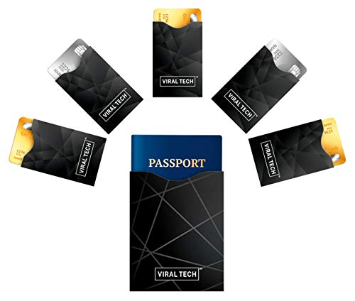 VIRAL TECH Designed in Germany - Matte Premium Schutzhüllen für RFID und NFC Chip, 5 für Kreditkarten und 1 für Reisepass Mann Frau - Anti Cloning, Entmagnetisierung und Identitätsdiebstahl