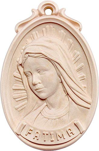Geschnitzte Medaillon (Holzschnitzerei Oswald Amort Medaillon Büste Fátima   6 cm   Natur - Unbemalt)