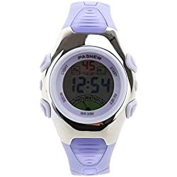 PIXNOR PASNEW PSE-219 Waterproof Boys Girls LED Digital Sports Watch with Stopwatch (Purple)