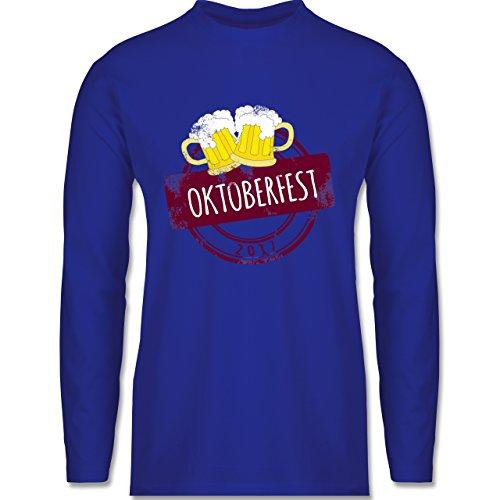 Oktoberfest Herren - Vintage Stempel Oktoberfest 2017 - Longsleeve / langärmeliges T-Shirt für Herren Royalblau