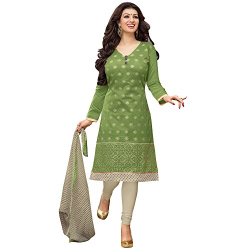 Mrinalika Fashion Womens Cotton Dress Material (Salwar Suits For Women - Drd49006_Green_Free Size)