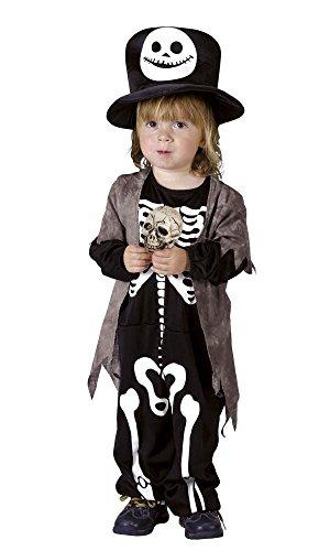 Kinderkostüm Skully Rascal mit Hut für Jungen und Mädchen von 3-4 Jahren Skelett Kostüm (Freundliche Kostüme Für Kinder Halloween)