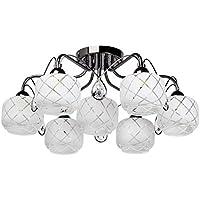 7e318dee2d29dc MW-Light Plafonnier Moderne à 7 Lampes en Métal Noir Brillant avec Globes  en Verre