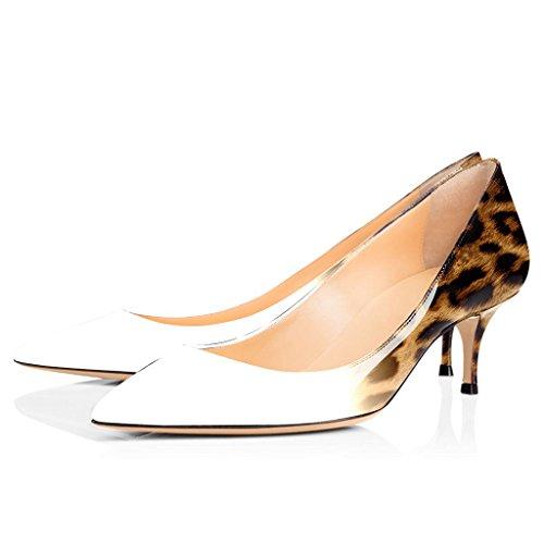 EDEFS - Scarpe da Donna - Tacco Gattino - 6.5CM - Chiuse Davanti - Scarpe col tacco 10-White