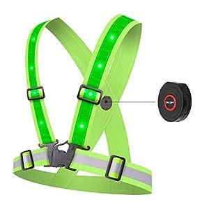 Alviller LED Reflektierende Weste, Reflektor Weste mit 12 LED Lichter, Einstellbare Elastische Sicherheitsweste für Jogger, Motorrad, Joggen, Ideal Reflektor Warnweste/Sicherheitsweste