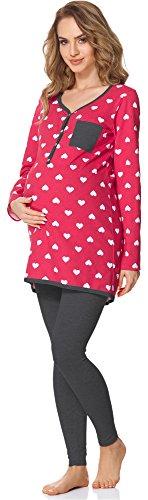 Bellivalini Damen Umstands Pyjama mit Stillfunktion BLV50-125 (Rosa Herzen/Graphit, XL)