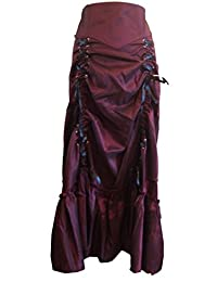 3 Ways Ruched Gothic Steam Punk Frida Long Sateen Corset Skirt in Two Classic Colours Sizes 8-26