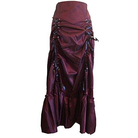 Borgogna 3 vapore modi increspato punk gotico Frida lungo Sateen corsetto Gonna 54