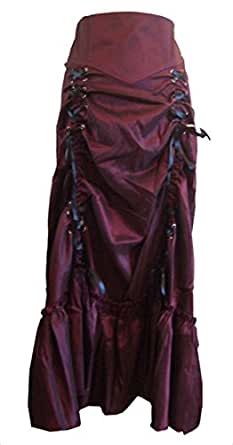 Burgund (Red 3 Ways Frieda) Vielseitig, Gothic/Steampunk Stil Rüschenrock mit Korsett Schnürung. Größe 34 (Herstellergröße: 36)
