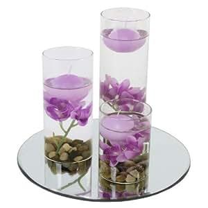 3 vasen rund mit schwimmkerzen violetten kunstblumen und spiegelteller. Black Bedroom Furniture Sets. Home Design Ideas