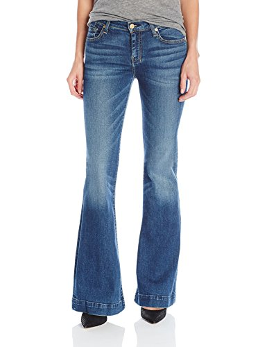 7 For All Mankind Women's Petite Size The Tailorless Dojo Trouser Jean (Short Inseam), Medium Melrose, 27 Seven For All Mankind Flare Jeans
