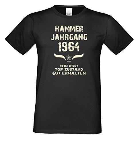 Geschenkidee zum 52. Geburtstag :-: Herren kurzarm Geburtstags-Sprüche-T-Shirt mit Jahreszahl :-: Hammer Jahrgang 1964 :-: Farbe: schwarz Schwarz