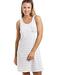 Chemise de nuit - sans manches/longueur genou - à rayures - gris et blanc