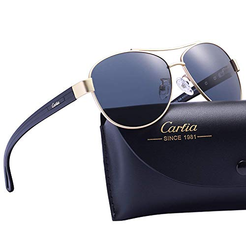 Carfia Retro-Sonnenbrille, polarisiert, UV400-Schutz, Outdoor, Reisen, Autobrille Gr. Damen, W: Gold Frame Blue Grey Lens