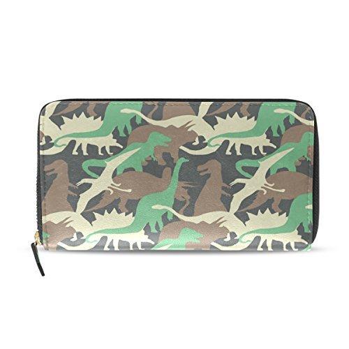 Franzibla Cute Cartoon Dinosaur Pattern Print Women's Clutch Leather long Wallet Card Holder Purse Bag