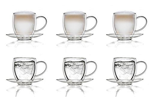 Creano Verre isotherme à double paroi 250ml avec soucoupe' ensemble de 6, grand verre résistant à la chaleur en verre de borosilicate, tasse à café/de thé