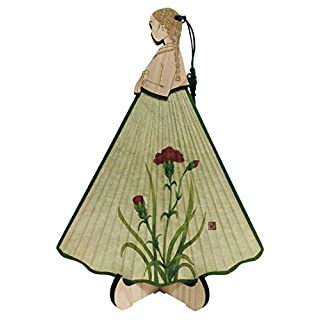 Antique Alive Carved Cypress Wood Girl Wearing Korean Hanbok Dress Handmade Mulberry Rice Paper Bamboo Art Handheld Decorative Wedding Party Gift Hand Fan with Wood Stand (Carnation)