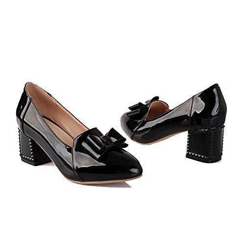 VogueZone009 Femme à Talon Correct Verni Couleur Unie Tire Pointu Chaussures Légeres Noir