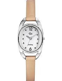 Go Girl Only Damen-Armbanduhr 698677–Quarz–Analog Zifferblatt Silber Armband Leder beige