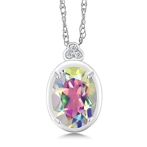 10K White Gold Diamond Accent Pendant with Chain Oval Mercury Mist Mystic Topaz