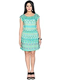 THINC PRINTED GREEN TUNIC DRESS WITH ZIPPER DETAILLING