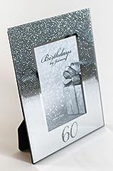 """Idea Regalo - Card and Party Store Cornice portafoto, con la scritta """"Happy Birthday"""" e """"60th"""", per il 60° compleanno, con glitter ed effetto a specchio, regalo ideale per un traguardo, per uomo e donna"""