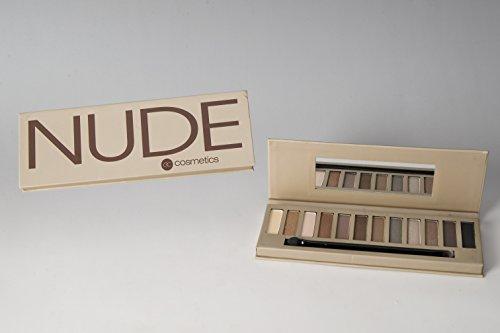 Lidschatten-Palette NUDE - 12 NAKED Farben - mit Spiegel und Doppelapplikator - 12 x 1g + Gratis...