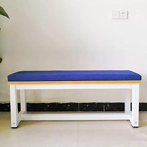 YEARLY Non Glissant Coussin d'assise, Rectangle Galette de Chaise éponge Long Tabouret Tapis Patio Meubles Épaissir 5cm Bourré Coussin de Siege-Bleu 90x30x5cm(35x12x2inch)