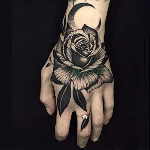 ljmljm 4 stücke wasserdichte Tattoo Aufkleber Blume Mond Tatto Tatoo Hand Arm Mittelgroße Kunst Tattoos Für Jungen Frauen Meno Cho te 9,5x14 cm
