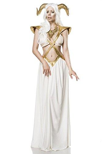 Sexy 3 tlg. Fee Zauberin Kostüm Game Damenkostüm Weiß Gold Thrones Hörner Ziege
