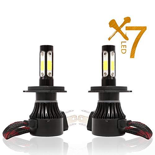 ACCDUER Ampoule de Phare de Voiture, 6500K LED Ampoule de Phare, COB Chips Voiture Tout-en-Un kit de Conversion Super Bright projecteur 36W 8000LM, 2 Pack,Black