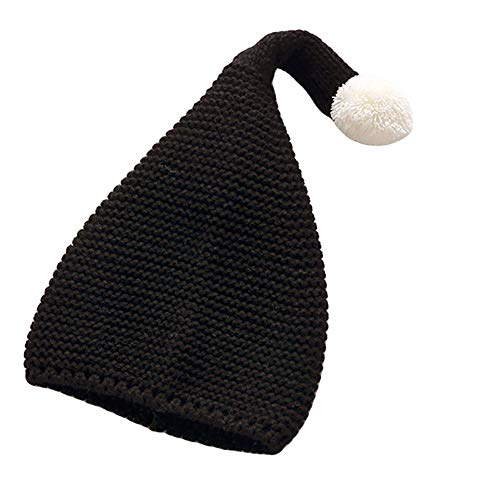 Plüsch Ball Elastische Kinder Kinder Kopf Ohr Wrap Warm Beanie Hat Cap Black ()