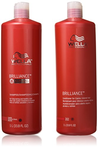WELLA Brilliance Shampoo & Conditioner Coarse Colored Hair,Liter Duo 33.8 oz by WELLA