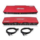 TESmart 4x1 HDMI KVM Switch HDMI 4K 3840x2160@60Hz 4:4:4 mit 2 Stück 5ft/1,5m KVM Kabeln unterstützt USB 2.0 Geräte Steuerung von bis zu 4 Computern/Servern/DVRs (Rot)