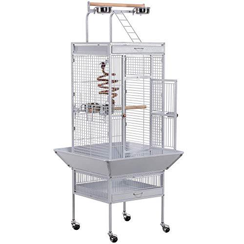 Yaheetech Gabbia Voliera per Uccelli Pappagalli Grande in Metallo e Legno con Ruote da Interno e Esterno 64 x 64 x 157 cm Bianca
