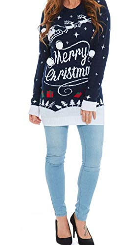 Mymixtrendz. Donne Lades Xmas Reindeer Tutto Quello Che Voglio Baby Its Cold Novelty Maglia Merry Christmas Jumper Midi Tunic Dress UK 8-26 (SM (UK 8-10), Christmas Present Navy)