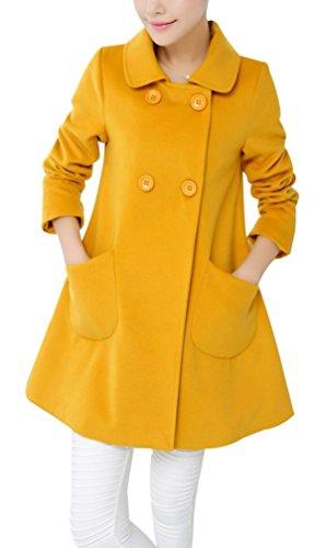 Yasong Damen-Peacoat, Trenchcoat, bunte Farben, zweireihig, Kunstwollmantel, Oberbekleidung Gr. 38, gelb