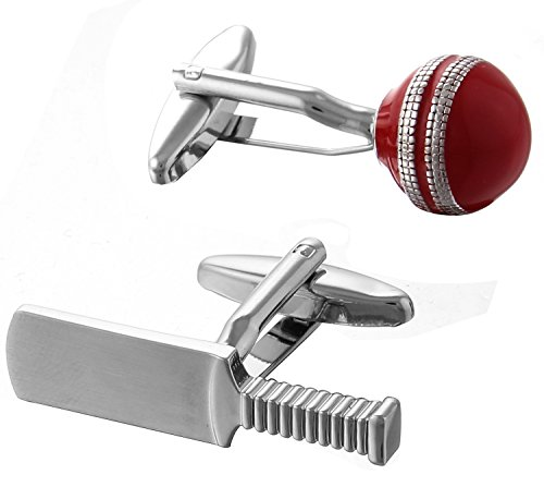 Code Red Men's Novelty Cricket Bat and Ball Rhodium Plated with Red Enamel Cufflinks Test