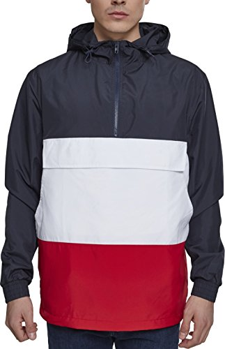 Urban Classics Herren Windbreaker Color Block Pull-Over Jacket, leichte Streetwear Schlupfjacke, Überziehjacke für Frühjahr und Herbst - Farbe navy/fire red/white, Größe XL