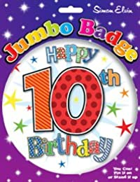 Happy 10 Today Birthday Age 10th Boy Jumbo Badge Kids Pin Accessory Party Gift by Card and Party Store