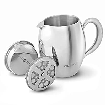 veohome – Virtually Unbreakable Keep Warm Coffee Plunger Cafetiere – Long Thanks to its Double Case