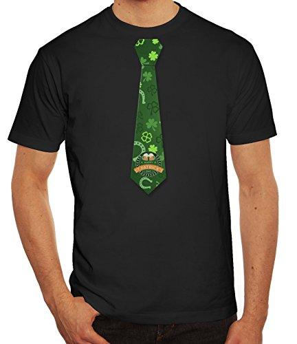 Herrent-Shirt Happy St Patricks Day Krawatte Grün Glück Kostüm Feier, Größe: 3XL,Schwarz (Und Krawatten T-shirt Männer Für)