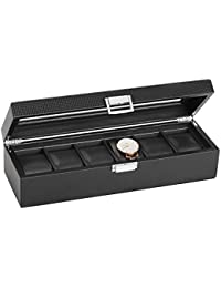SWEETV Large Watch Box for Men - 6 Watches Slots, Luxury Jewelry Organizer Carbon Fiber Watch Display Case Storage w/Glass Top, Lockable Metal Buckle, Faux Leather Black